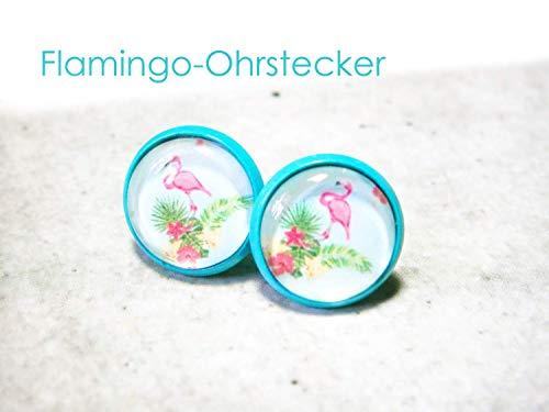 Ohrstecker Ohrringe Flamingo türkis tropisch