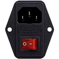 Módulo entrada 3 pines IEC320 C14 conector interruptor macho enchufe alimentación 10A 250V