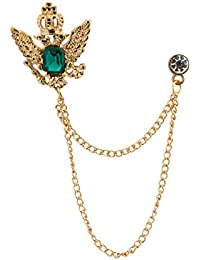 Knighthood Golden Crown Stone With Hanging Chain Brooch For Men