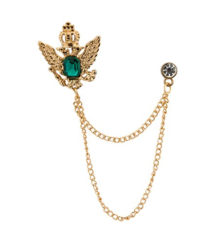Knighthood Herren Golden Crown Stein mit Kette zum Aufhängen, goldfarben Herren BroscheReversnadelLapel PinAnzugSakko
