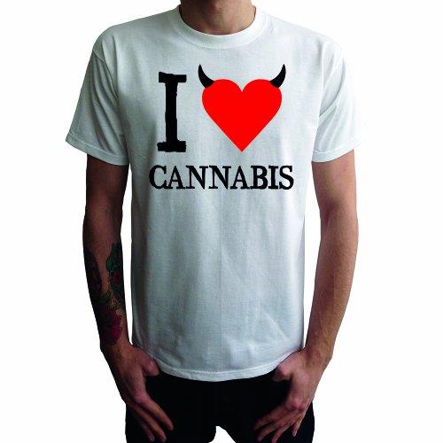 I don't love Cannabis Herren T-Shirt Weiß