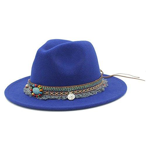 Hut-Mode Wolle Frauen Männer Outback Fedora Mit Quaste Böhmen Band Für Elegante Dame Jazz Kirche Pate Sombrero Caps (Farbe: Blau, Größe: 57-59 cm)