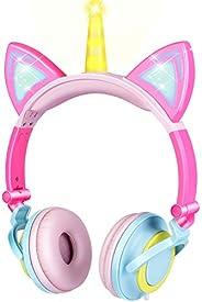 سماعة أذن محمولة للأطفال والقطط من OUYAWEI سلكية قابلة للتعديل للأولاد والبنات تابلت والأطفال عصابة رأس قابلة