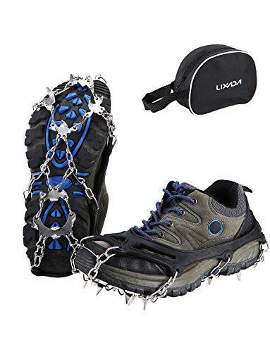 Gehen Zähne (Lixada Steigeisen 19 Zähnen Traktion Stollen Schuhkrallen EIS Anti Rutsch Spikes zum Gehen Wandern und Klettern)