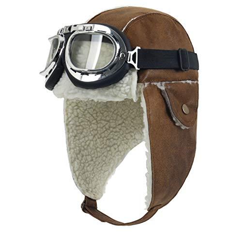 ililily Aviator Hat Winter Snowboard Fur Ear Flaps Trooper Trapper Pilot Goggles (aviator-403-5)