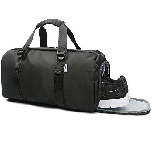 Oflamn Borsa da Viaggio in Tela per Donna e Uomo - Borsa da Palestra Sportiva con Scompartimento Scarpe - Sports Gym Bag (nero grigio)