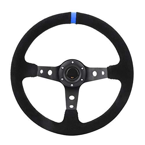 Volant en Aluminium, Universel 35cm / 14inch 6 Boulons Voiture Automatique Volant de Course Avec Corne (bleu)