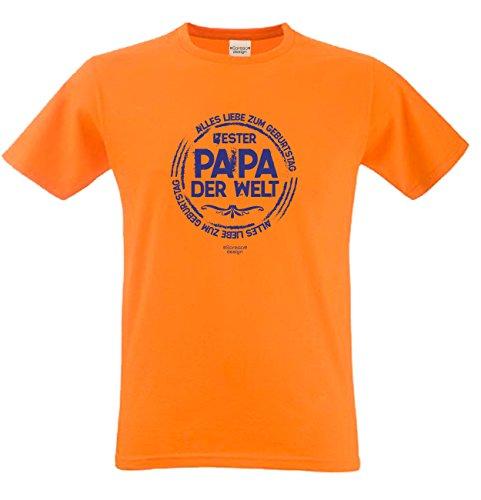 Herren Sprüche Fun T-Shirt wunderschönes Geburtstags-Motiv-Geschenk Bester Papa der Welt für Ihren Vater auch 3XL 4XL 5XL Farbe: orange Orange
