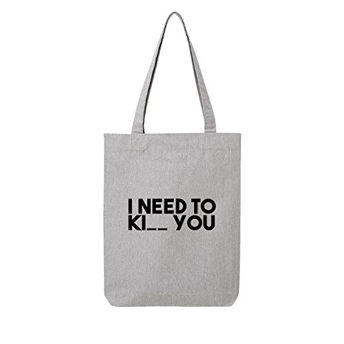 I need Ki__ you Bag Frauen Shopper grau Jute Beutel Handtasche Strand Sommer faltbar klein bedruckt Motiv Print (369-U760-Grau) (Michael Kors Leder Sonnenbrille)