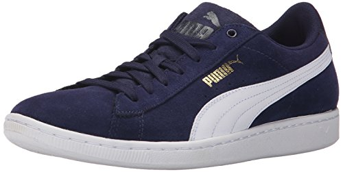 Puma Womens Vikky Leather Trainers Peacoat/White