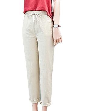 Guiran Mujer Verano Cintura Elástica Lino Pantalones Suelto Pantalones Color Sólido Pantalones De Deportes Caqui...