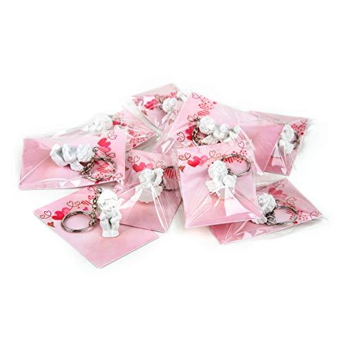 Logbuch-verlag - portachiavi con piccolo angelo custode give-away, per battesimo, comunione, matrimonio, 8,5 x 5,5 cm, colore: rosa, 10 pezzi