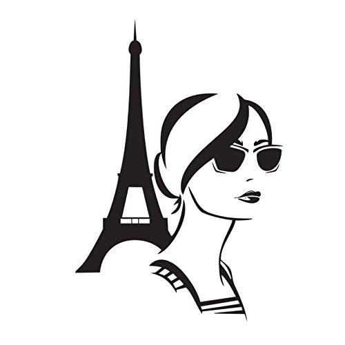 Mädchen mit Brille Wandaufkleber Eiffelturm Schlafzimmer Wanddekoration Aufkleber Vinyl Wandtattoo Romantik Paris Poster 64x44cm (Paris-fenster-aufkleber)