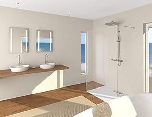 Talos LED Badspiegel Horizon 50x 70 cm - Warmweiß beleuchtet für angenehmes Licht - Modernes Design und hochwertige Beschichtung