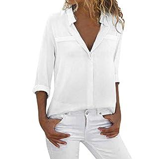 XuxMim Damen Lose Patchwork Casual Knopf Kurzarm Bluse Oberteil Tees T-Shirt Tops(Weiß-3,X-Large)