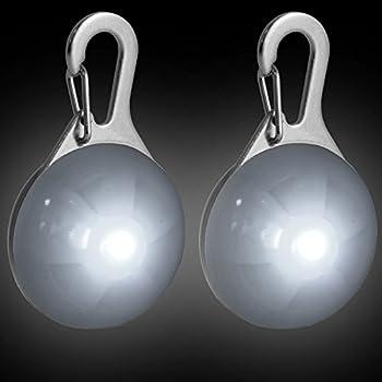 CampTeck LED Pendentif de Collier Lumineux Clignotant Nuit Sécurité pour Chien Animaux avec 3 Mode D?éclairage - 2X Blanc