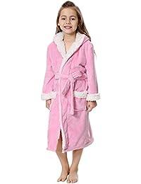FLYCHEN Mädchen weicher Fleece Bademantel mit Kapuze warm Nachtwäsche