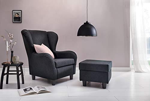 Furniture for Friends Möbelfreude® Ohrensessel Anthrazit Wohnzimmersessel mit Hocker