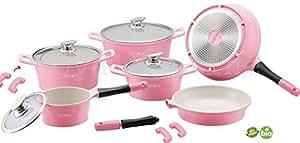 Batterie de cuisine en céramique set de 14 pièces rose/tV publicité royalty line marmite avec couvercle en verre-cONCEPT poêle induction casserole dESIGN suisse