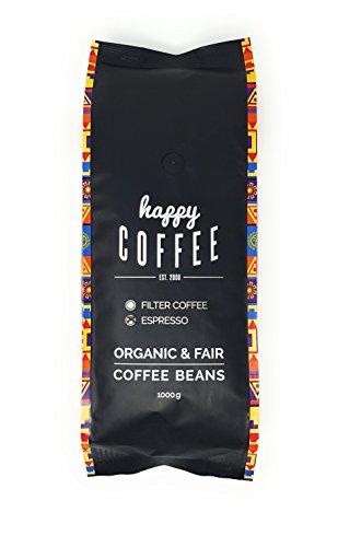 HAPPY COFFEE Bio Espresso Bohnen 1kg | Fairtrade Arabica Kaffee-Bohnen direkt aus Mexiko | Schonend...