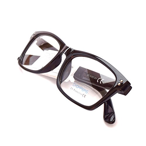 Nuevas: Gafas de Pasta Sin Graduar Unisex, varios Colores con Funda 43MM (Negra-patilla negra / acabado en mate)