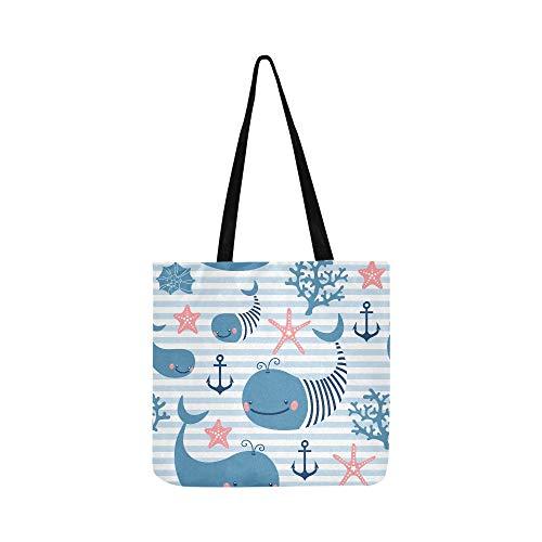 Schöne Sea Bunte Niedlichen Cartoon Fisch Leinwand Tote Handtasche Schultertasche Crossbody Taschen Geldbörsen Für Männer Und Frauen Einkaufstasche