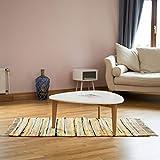 Relaxdays Tapis à franges tissé main coloré jaune style indien 70 x 140 cm couloir entrée sol plancher en polyester et coton -...