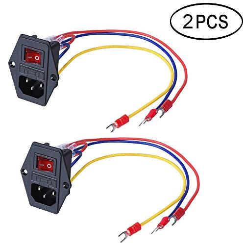 3Dman 15A 250V Rocker Switch Power Socket Inlet Module Plug 5A Fuse Switch with 5Pcs 16-14 AWG Wiring 3 Pin IEC320 C14-2pcs Socket 14 Pin
