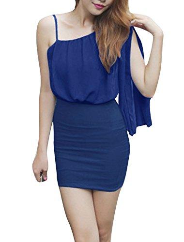 Femme Seule Épaule Style Bretelles Fines Slim Fit Robe Été Bleu