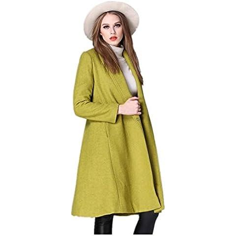 Lana larga solapa delgado de las mujeres sobre la capa , green , m