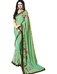 c6f9a71695aa9 Vishnu Creations Georgette Saree With Blouse Piece (A23 Sea  Green Green Free Size)