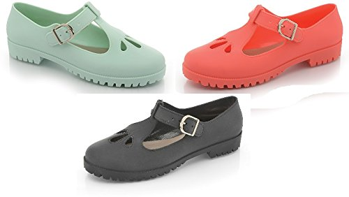 "Mädchen-Damen Sandalen-Motiv, Retro-Look, Sommer, flache Ausschnitt, Gelees Schuhe Strand-Flip-Flops "" Apfelgrün"