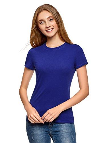 oodji Ultra Femme T-Shirt en Coton à Col Rond sans Étiquette, Bleu, FR 36 / XS