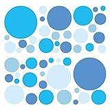 dekodino Wandtattoo Kinderzimmer Wandsticker Set Blaue Kreise für Jungen Stück zum Klebe