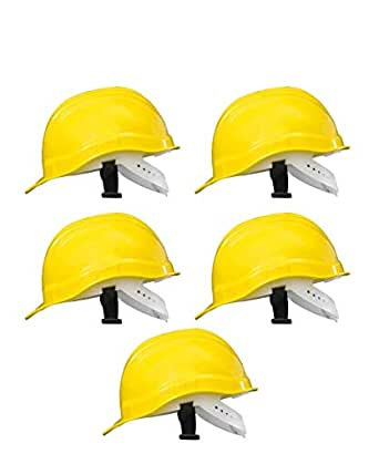 NOVEL Hard Hat Head Protection Outdoor Work Helmet with ISI Mark (Yellow) -Set of 5