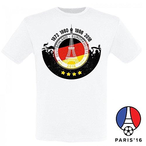 Deutschland Fussball Fanshirt Europameister T-Shirt zur EM 2016 für Männer und Frauen, Farbe:Männer weiss;Größe:L