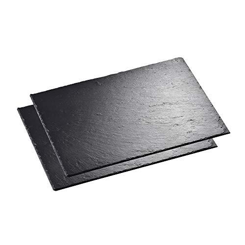 MALACASA, Serie Nature.Slate, 2-teilig Set Schieferplatte Käseplatte 16 Zoll 40 x 30 x 0,5 cm Schiefer Servierplatte Buffetplatte -