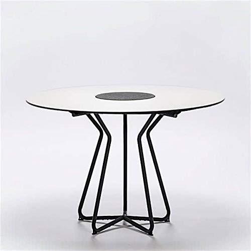 Table ronde CIRCLE, bambou et granit, acier, outdoor - Ø 110 cm, HPL blanc (laminé haute pression) et granit au centre