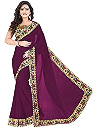 E Shop Online Women's Georgette Sarees With Blouse (WHITE PEACOCK)