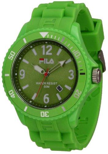 Fila Summertime - Reloj analógico de cuarzo unisex con correa de silicona, color verde