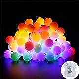 Lichterkette bunt B-right 40 LEDs Globe Lichterkette rgb, Lichterkette batteriebetrieben, Innen- und Außen Lichterkette Glühbirne, Weihnachtsbeleuchtung für Weihnachten Hochzeit Party Weihnachtsbaum