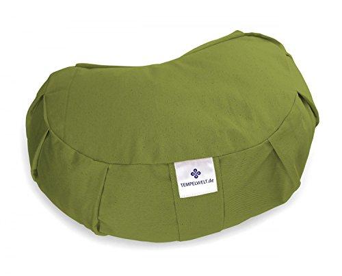 Yogakissen Meditationskissen JANDRA Halbmond 42x30x15 cm, Bezug aus Baumwolle Leinen oliv grün, Füllung EPS Styropor Perlen, Allergiker geeignet, Yoga Zafu Kissen (Perlen Bolster Kissen)