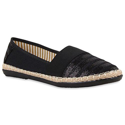 Damen Schuhe Espadrilles Bast Slipper Streifen Glitzer Flats 118134 Black 37 Flandell -