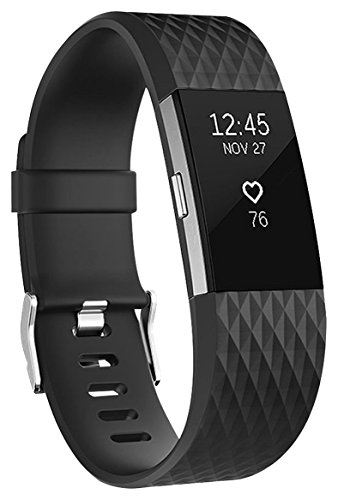 harge 2 Armband, Charge 2 Bänder 3D Stil Weiches Silikon Sports Ersetzerband Fitness Verstellbares Uhrenarmband für Fitbit Charge2 Small Noir ()