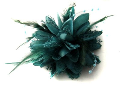 Teal / Dark Turquoise Flower Feather Bead Corsage Hair Clips Fascinator by Caprilite (Teal Feather)