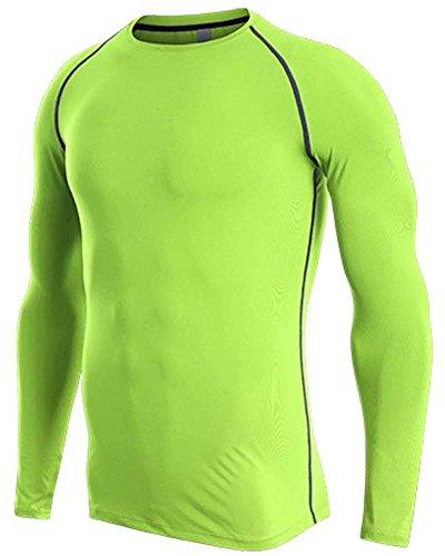 Camiseta de Compresión de Manga Larga Secado Rápido Camiseta de Running para Hombre Verde Fluorescente L