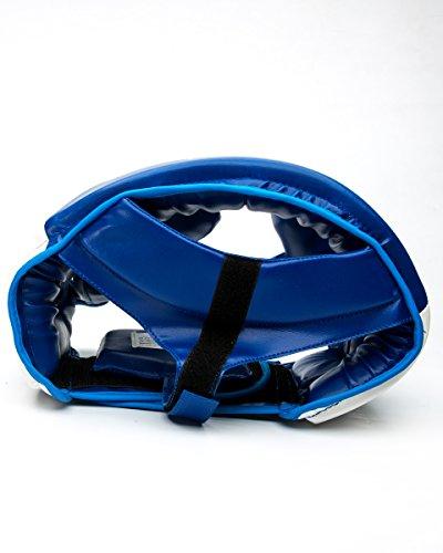ringmasteruk Boxen Kopfschutz Kunstleder weiß blau Abbildung 3