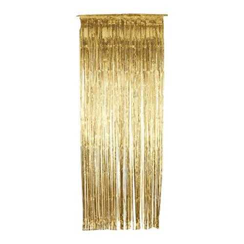 YeahiBaby Folie Fransen Vorhang Gold Metallic Photo Booth Lametta Hintergrund Tür Vorhänge für Hochzeit Geburtstag Spezielle Festival Party Dekoration 2 mt x 1 mt