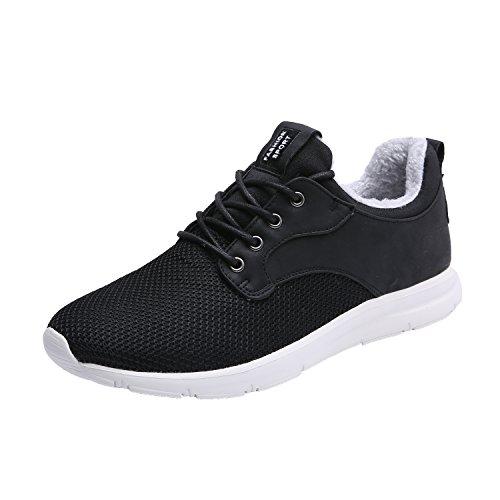 Maylen Hughes Hommes Femmes Chaussures De Course Occasionnel Chaussures À Lacets Léger Pieds Sport Sneakers Noir (avec Fourrure)