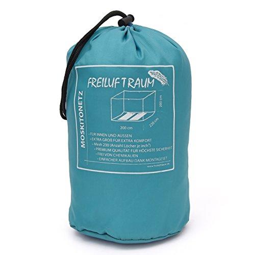 Freiluftraum - grande zanzariera per letto matrimoniale 200x220x200cm - protezione dalle zanzare per camera da letto, giardino e viaggi - borsa per il trasporto e set di montaggio inclusi.